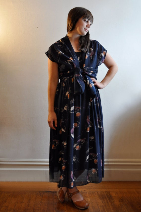 1970s Planets, Galaxy Print Two-Piece Dress and Blouse