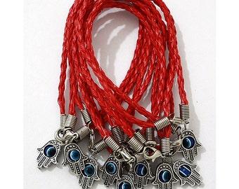 Lot 10 Evil Eye Hamsa Bracelets Lucky Red String         Wrap with Rotating Eye