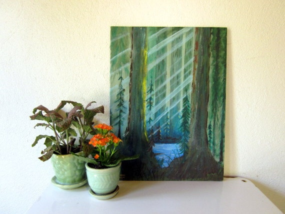 Vintage Oil Painting, Green and Blue Landscape, Forest Trees, Turquoise Wall Art Wall Hanging