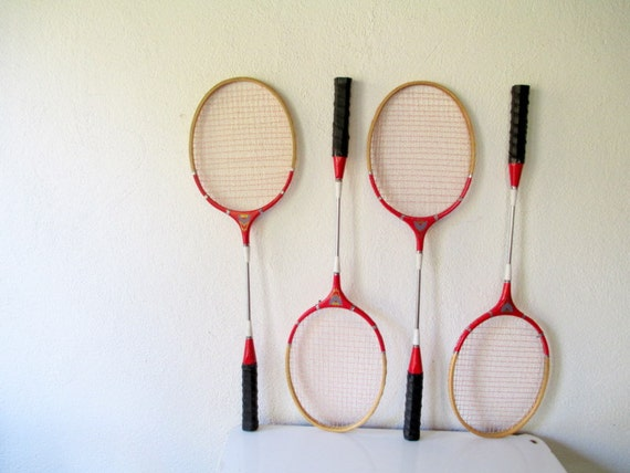 Vintage Badminton Racquets Set Of Four Red By