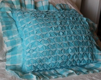 Blue Smocked Pillow, Blue Gingham, Smocked Pillow