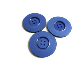 3 Large Blue Buttons, Pearlised, Coat Buttons