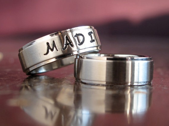 Engraved His & Hers Brushed Rings... Tri Band