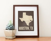 Houston, Texas Love Map Art Print