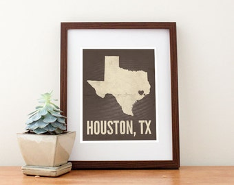 Houston, Texas Love Map Art Print