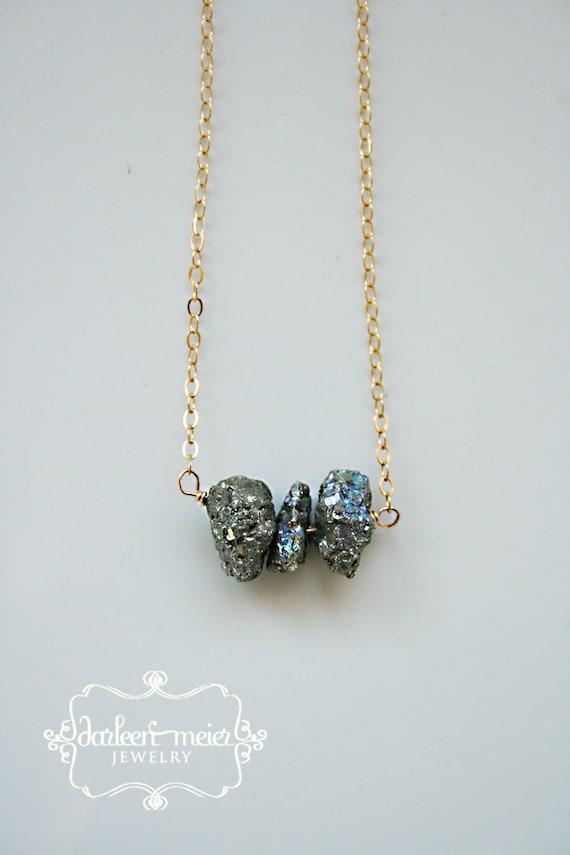 Pyrite Three Gemstone Gold Gill necklace