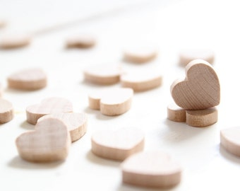50 Small Wood Heart - 1/2 inch wooden hearts . woodland wedding confetti . country wedding decor