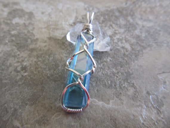 Wire Wrapped Pendant Aqua Aura Crystal Point - One of a Kind - Wirewrapped Wire-Wrapped