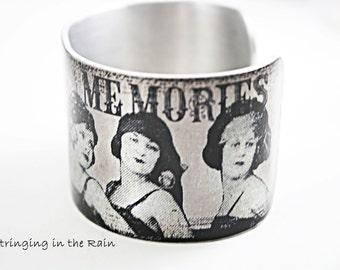 Quote Cuff Bracelet, memories, Vintage Style, Flapper Ladies, Black and White, Adjustable No. B