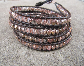 Brown Rose Gold Crystal Beaded Leather Wrap Bracelet with Leather