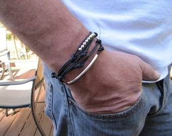 Rustic Men's Black Leather Silver with Tubes Leather Wrap Bracelet