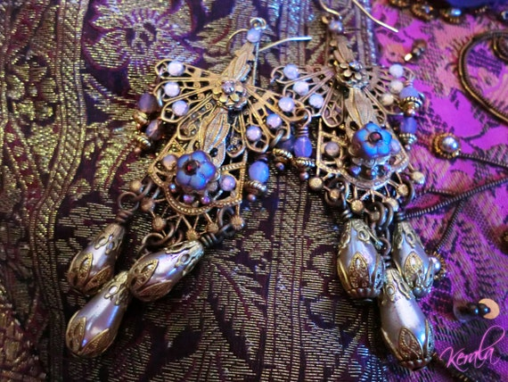 Ornate Handmade Chandelier Earrings- Filigree, Vintage, Unique Edwardian Angel Earrings- East Indian