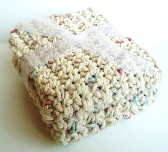 CLEARANCE Crochet Washcloths Dishcloths - Set of 2 - For Kitchen, Bathroom, Baby - Tan Speckles - 100% Cotton