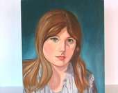 Vintage Oil Portrait: Mod Blonde Woman 1960s Original Painting