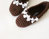 Crochet Slippers with Floral Mini Crochet Lace, Chocolate Brown & White
