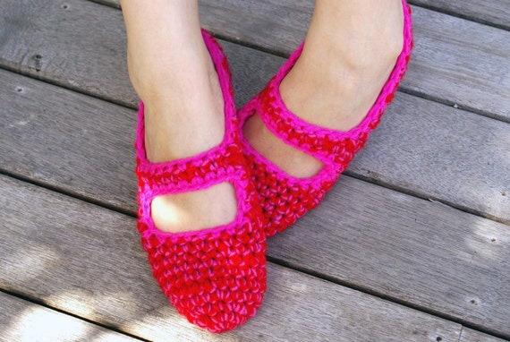 Mary Jane House Slippers in Red & Pink
