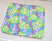 Mouse Pad  made with Lilly Pulitzer Signature Fabric Ocean Blue Gill-ty