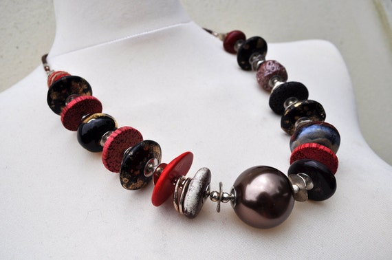 Necklace -  ceramic, wood, metal, cotton beads