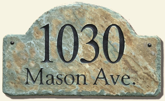 Address Plaque ARCH / CARVED STONE / Sign / Marker / Slate / House  Home Number Column  Mailbox #E-5c