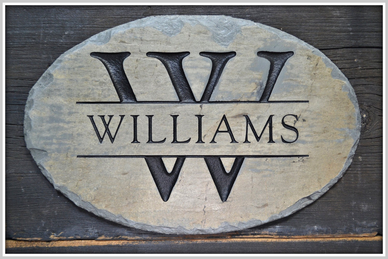 monogram name plaque carved stone family sign house. Black Bedroom Furniture Sets. Home Design Ideas
