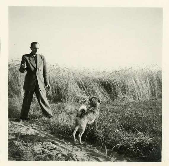 """Vintage Photo """"Man and Best Friend"""", Photography, Paper Ephemera, Snapshot, Old Photo, Collectibles - 0003"""