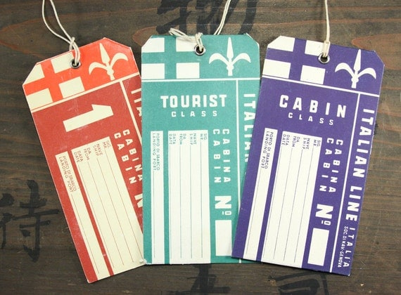 "Three 1950's Vintage Travel Luggage Baggage Suitcase Tags ""Italian Line"", Paper Ephemera, Collectibles"