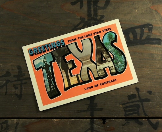 """1960's Vintage Postcard """"Greetings from Texas"""", Paper Ephemera, Collectibles"""