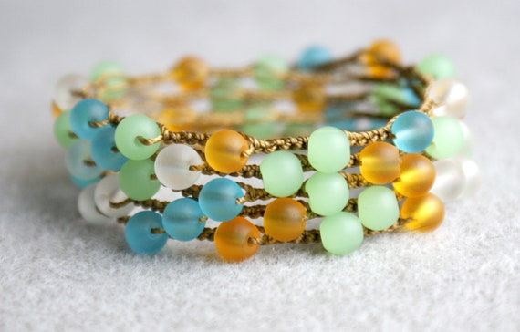 Tropical Oasis boho Crochet 5x wrap bracelet necklace, boho chic, bohemian jewelry flower, sea glass, green, blue, topaz beach surfer spring