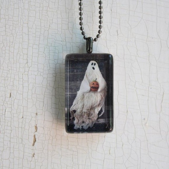 Primitive Halloween Ghost Photo Glass Tile Pendant Jewelry