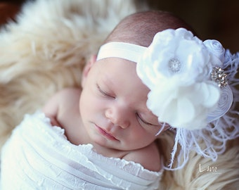 Infant Headband, Newborn Headbands, Baby Girl Flower Headband, Rosette Headband, Photo Prop / Snow White Rosette Baby Headband