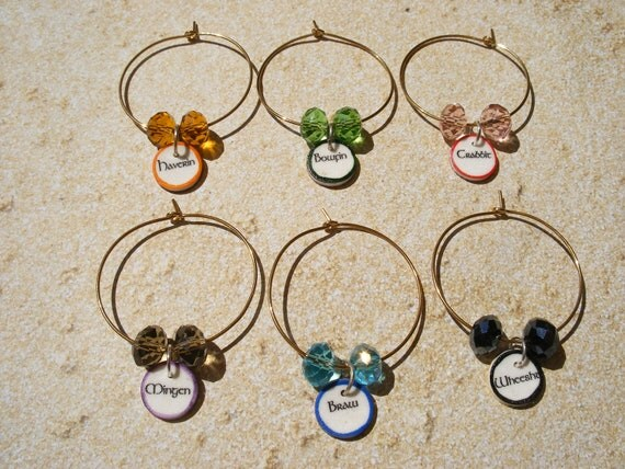 Funny Scottish Words Wine Charms-Set of 6 BEST SELLER