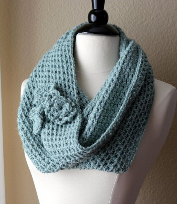 Crochet Cowl Scarf in Seaglass Green - Ready to Ship