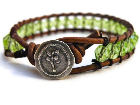 Boho Tree of Life Leather Wrap Bracelet with Bright Green Czech Beads, Tree Hugger, Earthy Forest Chic