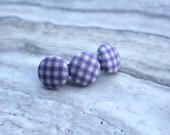Three Button Hair Clip in Purple Gingham - alligator clip