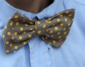 Men or boys bow tie in yellow and gray polka dot - clip on, pre-tied with strap or self tying
