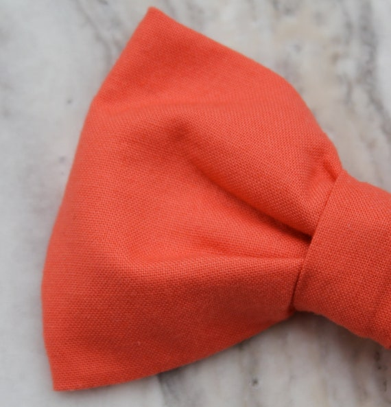 Boys Bow tie and matching suspenders in Solid Coral - Clip on