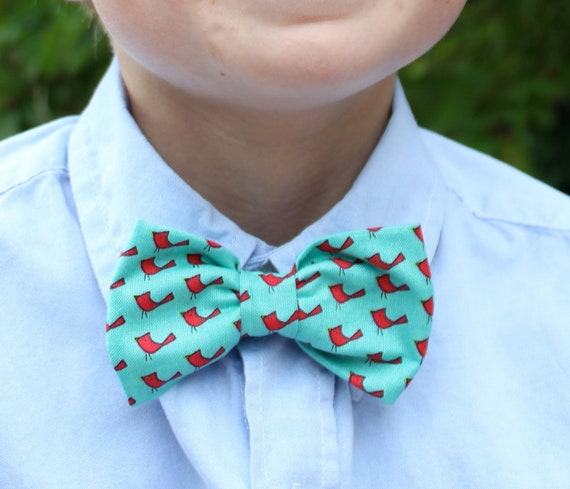 Boy's Bow Tie in Turquoise with Red Birds - clip on