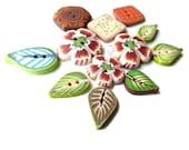 Set of 12 Flower Leaf BUTTONS, Kaleidoscope Geometric - handmade POLYMER CLAY, green brown cream gold orange caramel pink