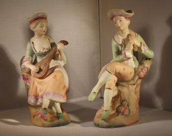 SALE SALE Bisque Halsey Import Co. Man & Woman figuerine  with musical instruments
