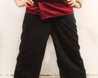 maroon on waist and black cotton thai fisherman capri pants 2 tone