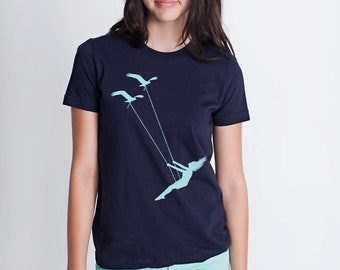 kids children youth flying bird swing- American Apparel Navy- available 2, 4, 6, 8, 10, 12 year old sizes- Worldwide Shipping