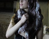 Hand dyed Nuno scarf 100% silk fabric and finest Merino wool felted scarf.