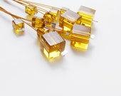 Gold geometric earrings, jewelry under 25, yellow cube earrings, geometric jewelry, summer fashion