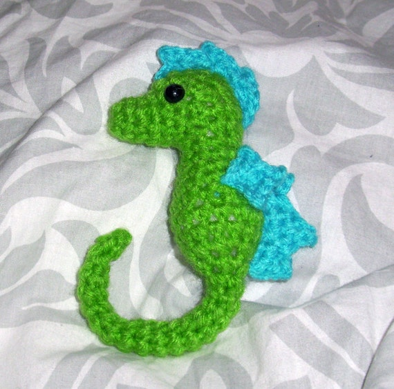 Green and Blue Seahorse Plush Toy