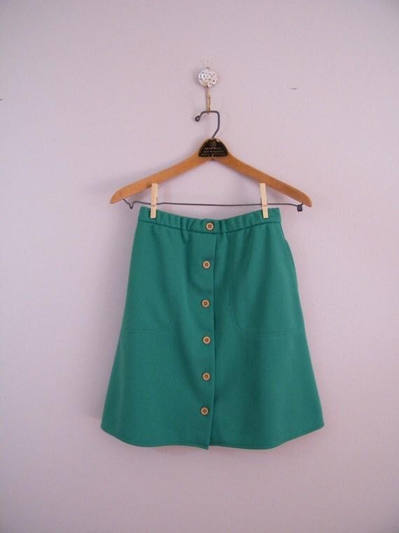 Vintage 1970s Green Scooter Skirt / Skort / Jantzen / Size 8