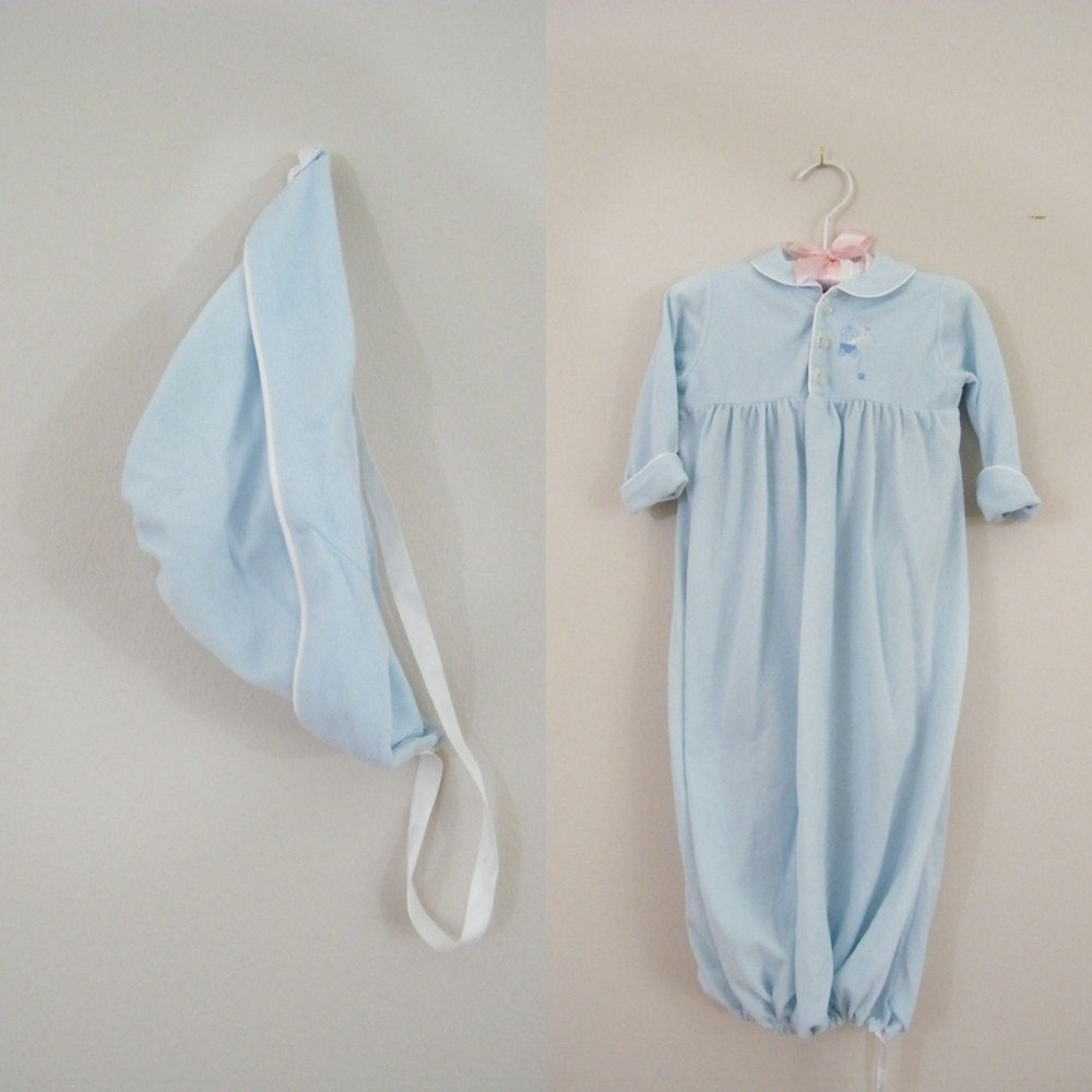 Vintage Baby Sleeping Gown With Matching Bonnet
