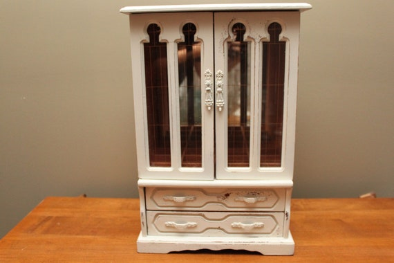 Upcycled, Tall Jewelry Armoire, Jewelry Box, Distressed, Shabby Chic