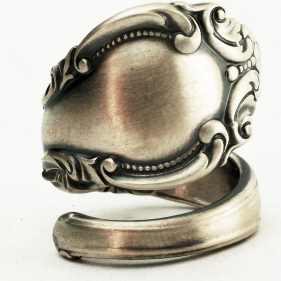 Sterling Spoon Ring Victorian Ornate and Elegant Design, Handcrafted in Your Size (2454)