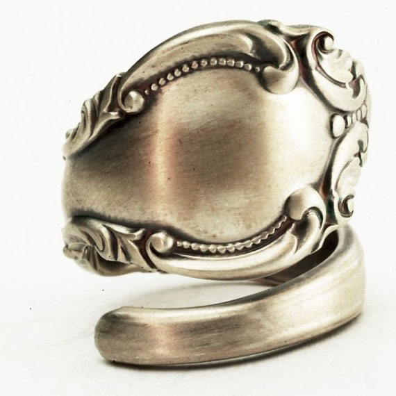 Sterling Spoon Ring Victorian Ornate and Elegant Design, Handcrafted in Your Size (2458)