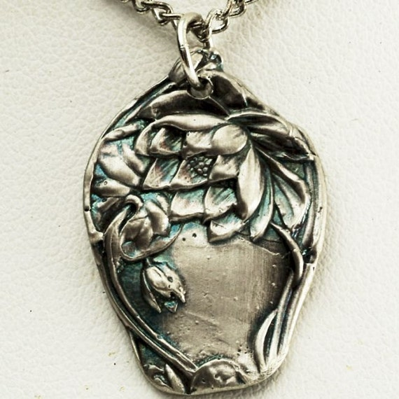 Spoon Pendant Lovely Lotus Victorian Era Sterling Water Lily Pattern Pendant (P020)